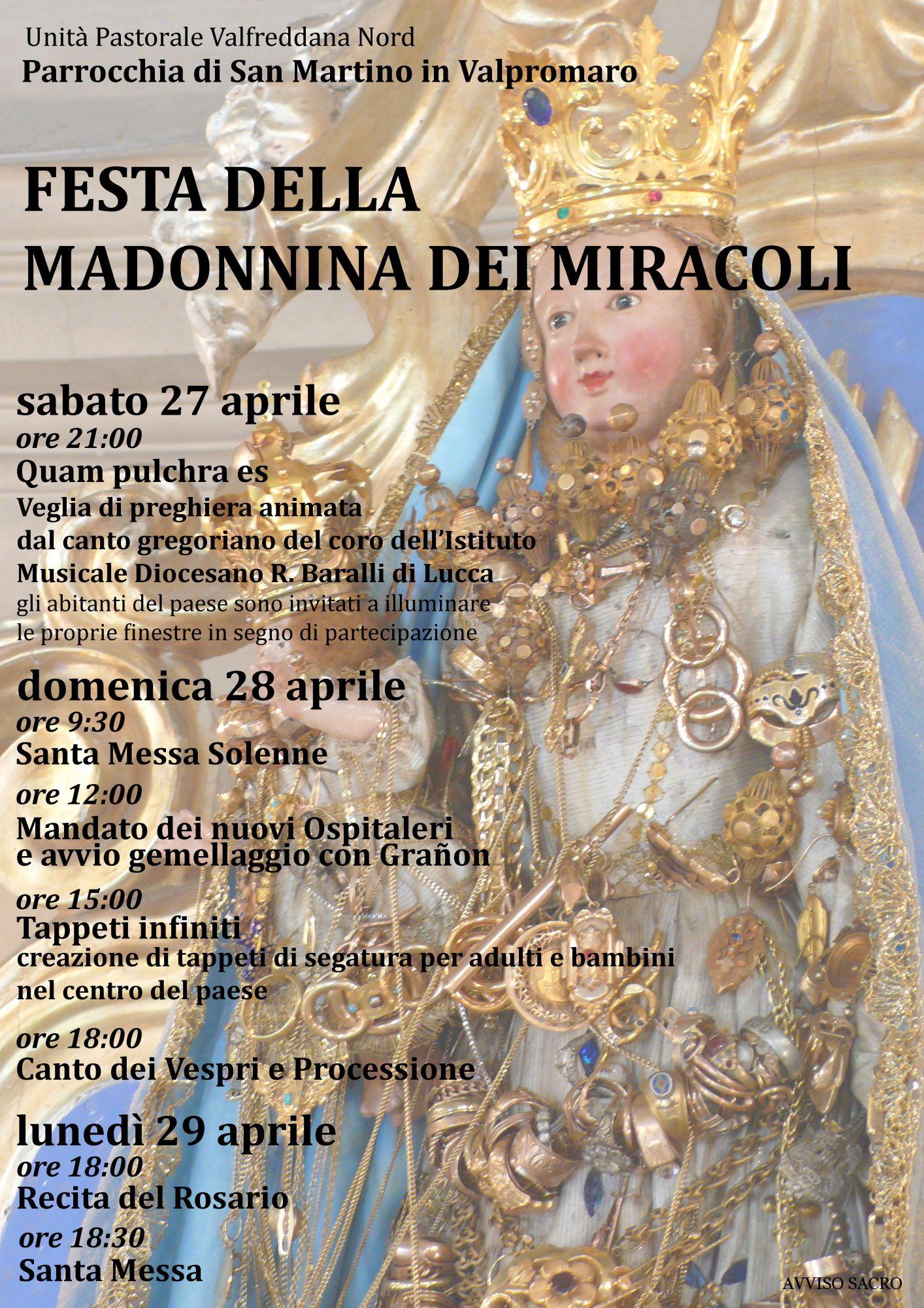 A Valpromaro festeggiamenti per la Madonnina dei Miracoli e il Corso Internazionale di Formazione per Ospitalieri Volontari i