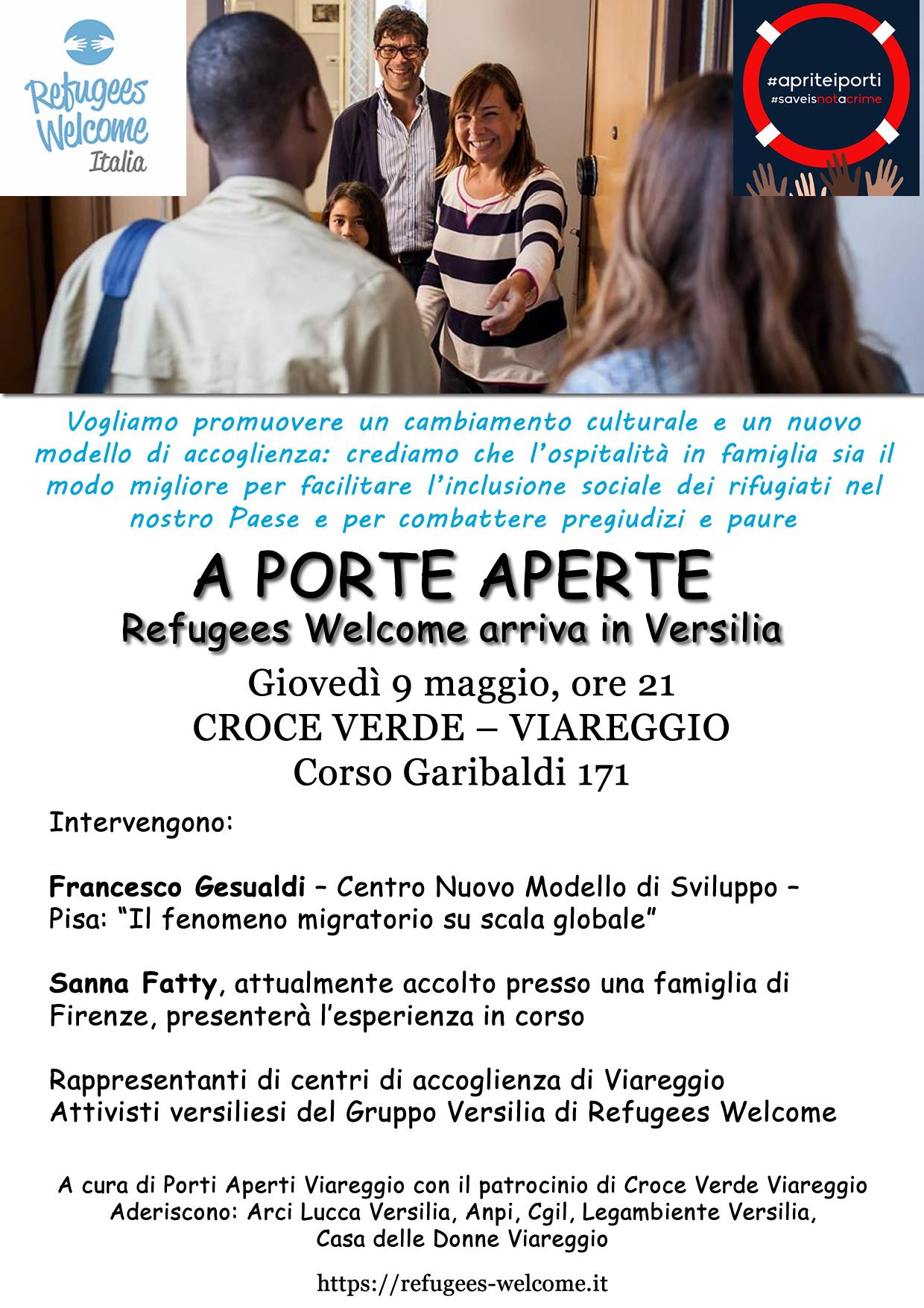 """""""A porte aperte – Refugees Welcome arriva in Versilia"""", appuntamento alla Croce Verde di Viareggio"""