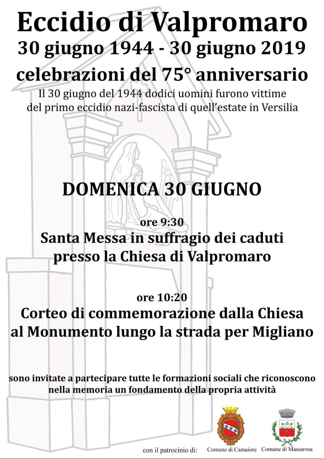 Commemorazioni per l'anniversario dell'Eccidio di Valpromaro