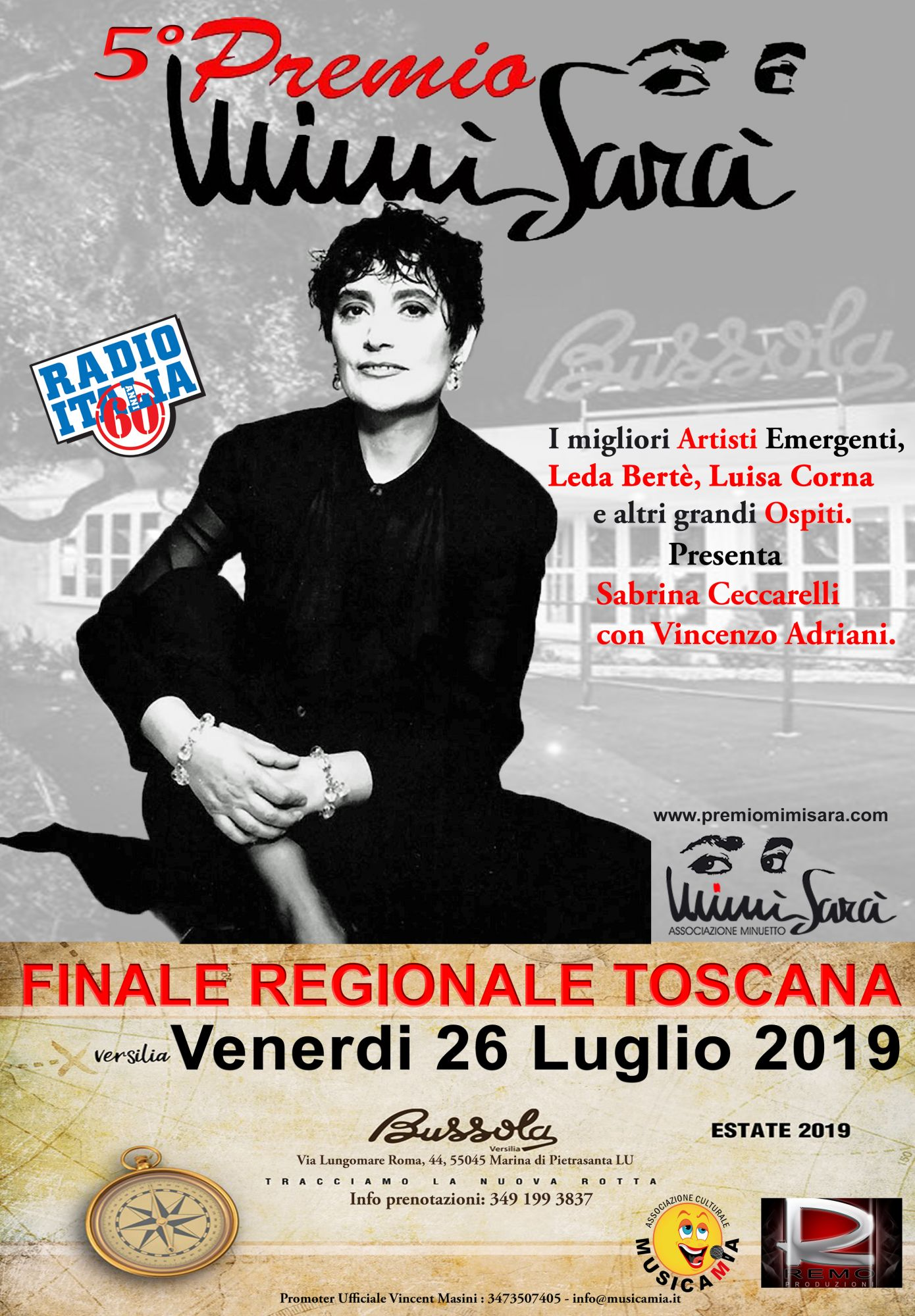 La Bussola Versilia ospiterà la finale regionale del 5° Premio Mimi Sarà, dedicato alla indimenticabile Mia Martini