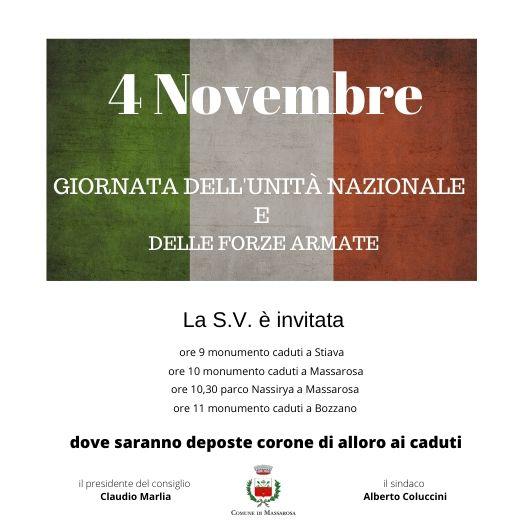 4 novembre, Giornata dell'Unità Nazionale e delle Forze Armate. Le celebrazioni a Massarosa