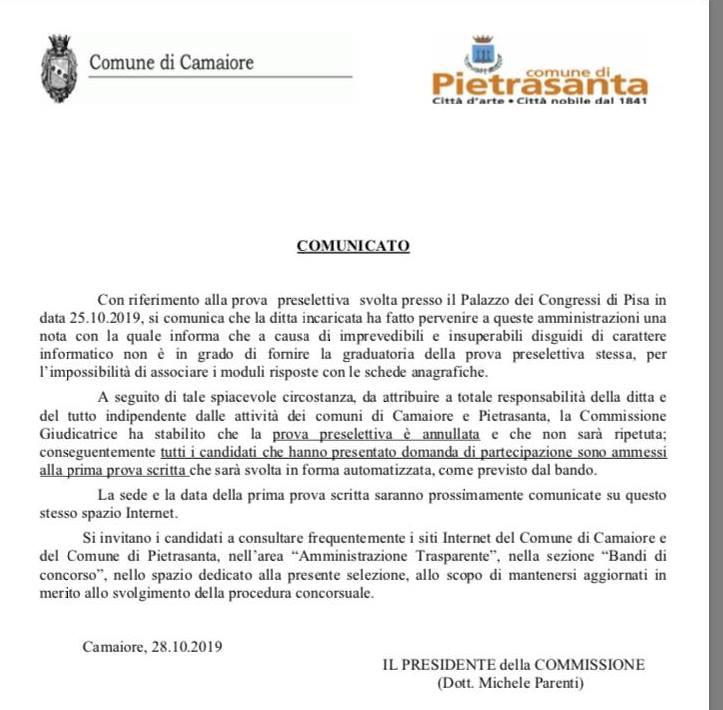 Disguido informatico, annullata la prova preselettiva dei concorsi in comune a Camaiore e Pietrasanta