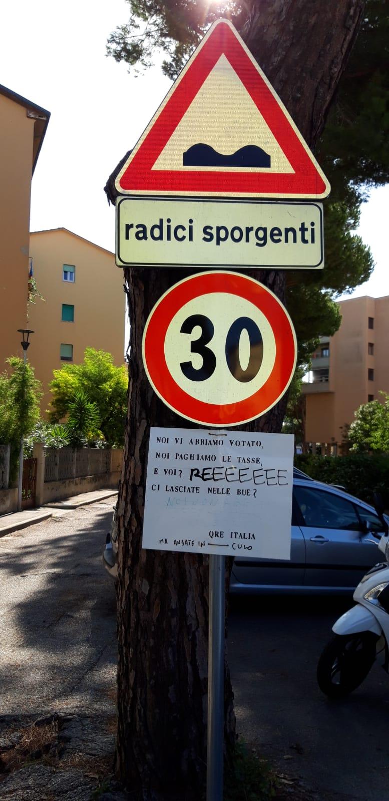 Radici sulla strada di accesso dei condomini del Quartiere Italia. Interviene l'Associazione BuonSenso per Viareggio e Torre del Lago