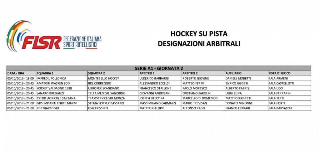 designazioni arbitrali hockey-seconda-giornata