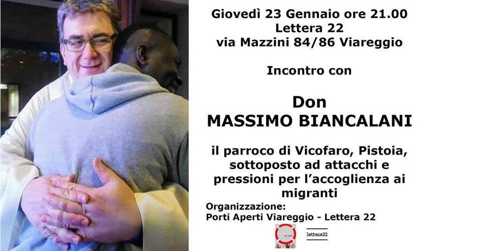 Don Biancalani a Viareggio, l'incontro al caffè libreria Lettera 22