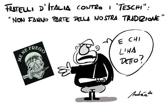 Fratelli d'Italia contro i teschi del Carnevale: ecco la vignetta di Andrea Vassalle