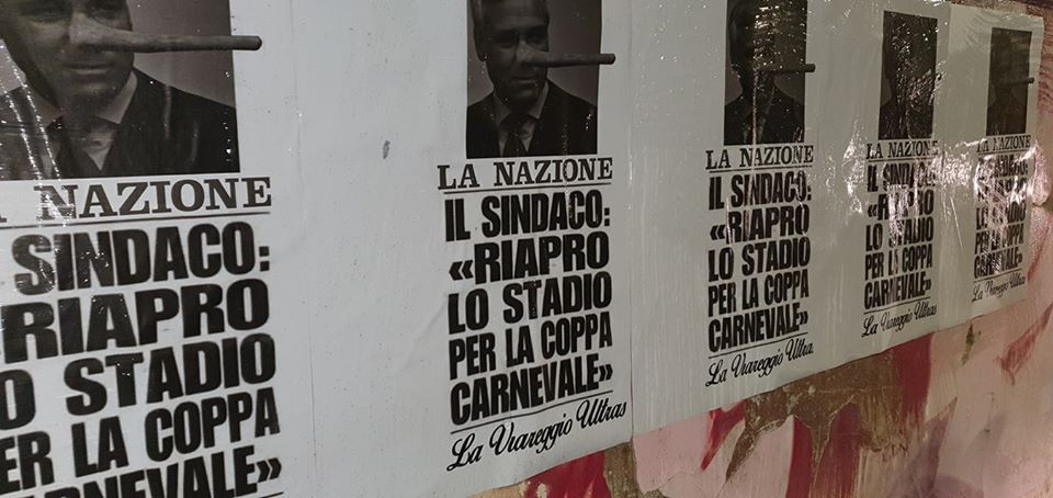 Stadio dei Pini ancora chiuso, i manifesti degli Ultras: un sindaco col naso di Pinocchio