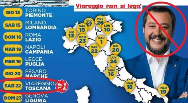 """""""Viareggio non si lega"""", anche le sardine si mobilitano in previsione dell'arrivo di Salvini in Cittadella"""