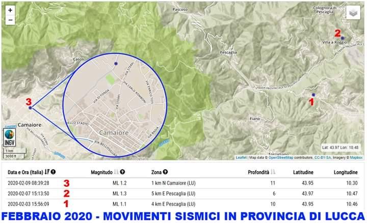 Toscana sismica, scossa a Camaiore