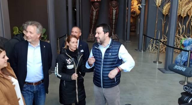 Matteo Salvini in visita alla Cittadella del Carnevale parla anche del Coronavirus