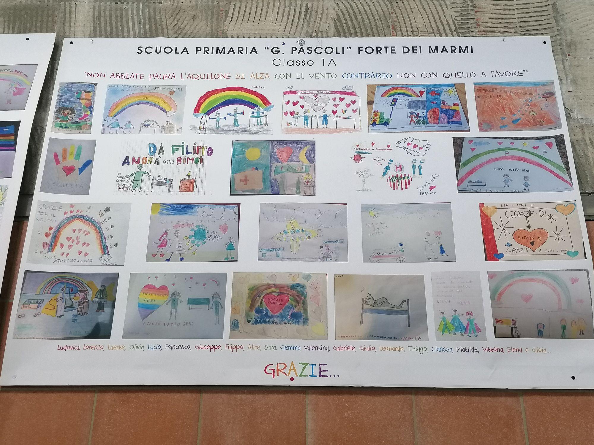 """I disegni dei bambini della scuola Pascoli di Forte dei Marmi per gli """"eroi""""  del Versilia"""