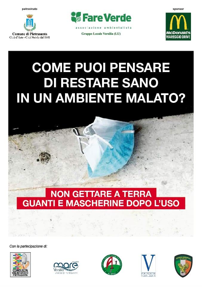"""""""Non gettare a terra guanti e mascherine dopo l'uso"""", Pietrasanta aderisce a campagna """"Fare Verde"""""""