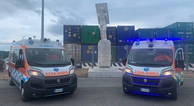 Emergenza Covid, pronte a entrare in servizio le due ambulanze donate dalla Fondazione Marmo alla Pubblica Assistenza di Carrara