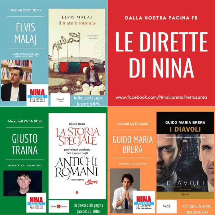 Le presentazioni online della settimana alla Libreria Nina