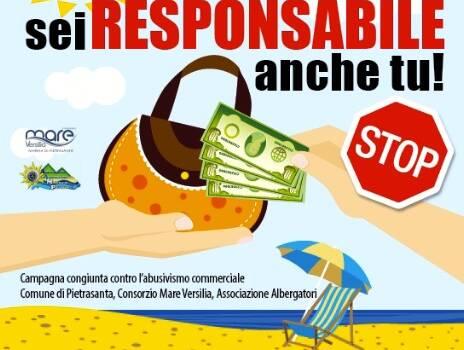 """""""Se compri sei responsabile anche tu"""", campagna contro abusivi in spiaggia a Pietrasanta (e trasgressori norme anti-diffusione)"""