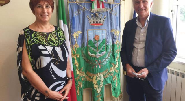 Il questore di Lucca Alessandra Faranda Cordella ricevuta stamani in Municipio a Seravezza