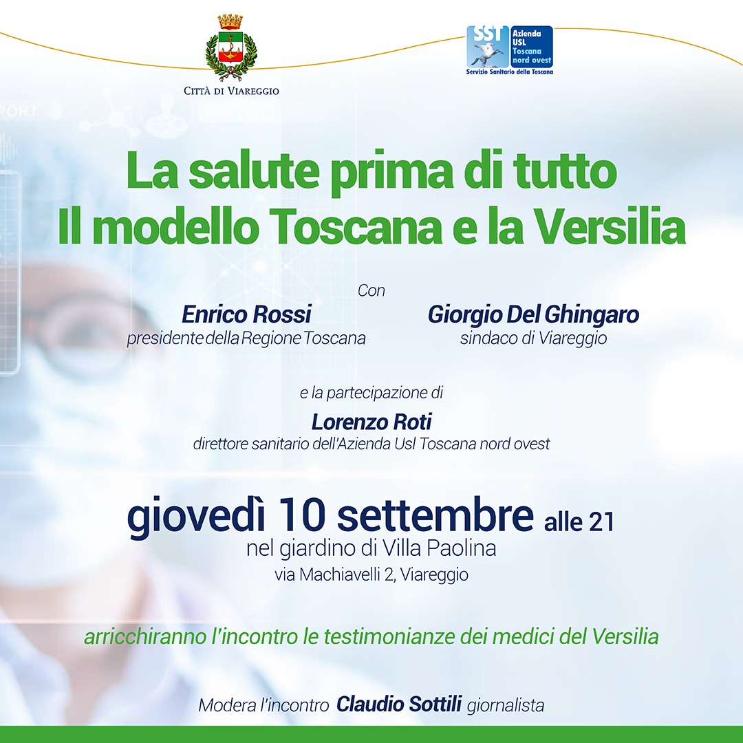 """""""La salute prima di tutto. Il modello Toscana e la Versilia"""". Incontro a villa Paolina con Del Ghingaro e Rossi"""