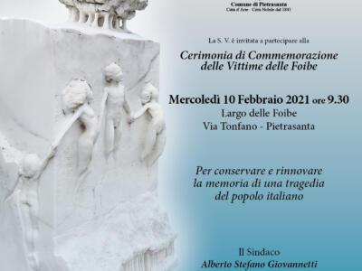 """Commemorazioni: Pietrasanta ricorda le vittime delle Foibe, cerimonia a """"L'unione per la vita"""" in via Tonfano"""