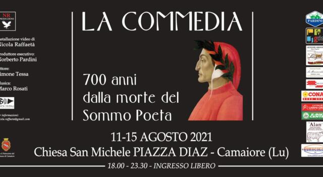 """Dante 700, installazione video """"La Commedia"""" di Nicola Raffaetà a Camaiore"""