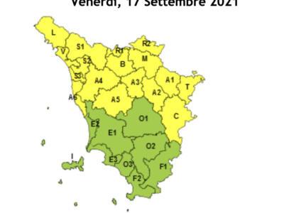 Codice giallo per temporali in Toscana fino alle 20 del 17 settembre
