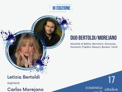 Il duo Bertoldi-Morejano alla rassegna Sentieri Musicali domenica 17 ottobre a Villa Bertelli