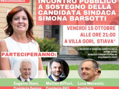 Venerdì 15 ottobre Eugenio Giani a Stiava per Simona Barsotti in vista del ballottaggio
